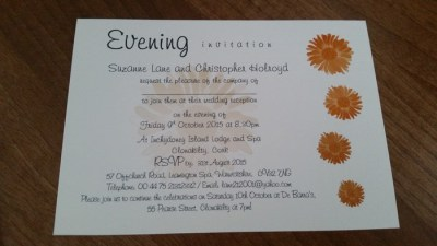 Gerbera Groove evening invitation- unfinshed gems required