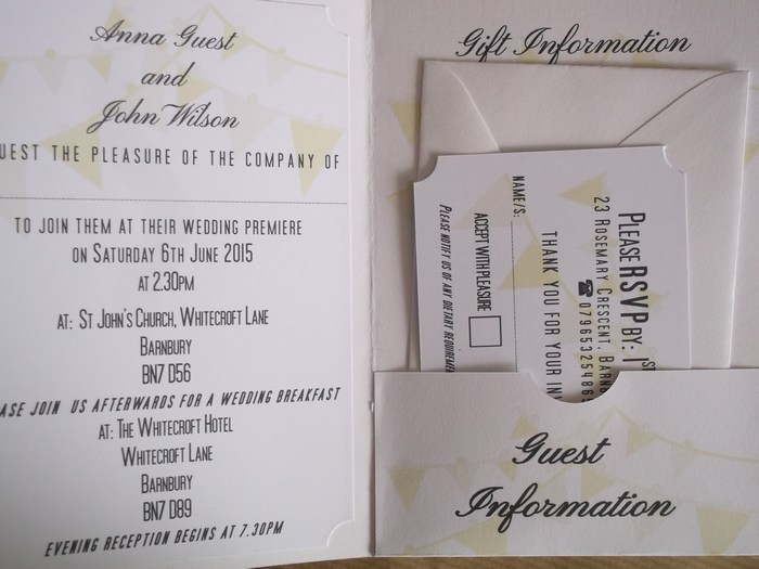A Night at the Movies invitations inside view
