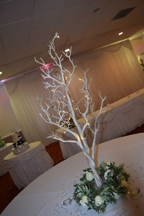 Rustic Manzanita Tree with cream rose ring base and fairy lights