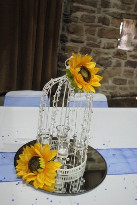 Beaded Birdcage with sunflowers