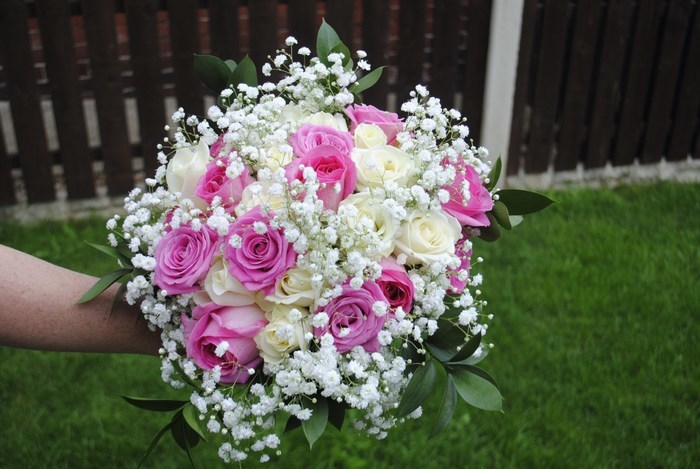 Bridal Bouquet of cream and pink roses with gyp