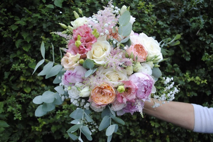 Bridal Bouquet of vuvuzela rose, yves piaget rose, astilbe, eucalyptus, gyp