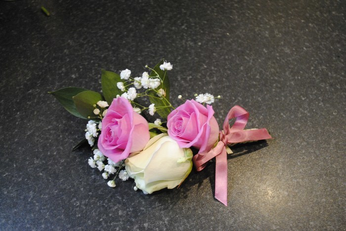 Mother of the Bride/Groom Buttonhole Corsage in fresh pink & Cream roses & gyp
