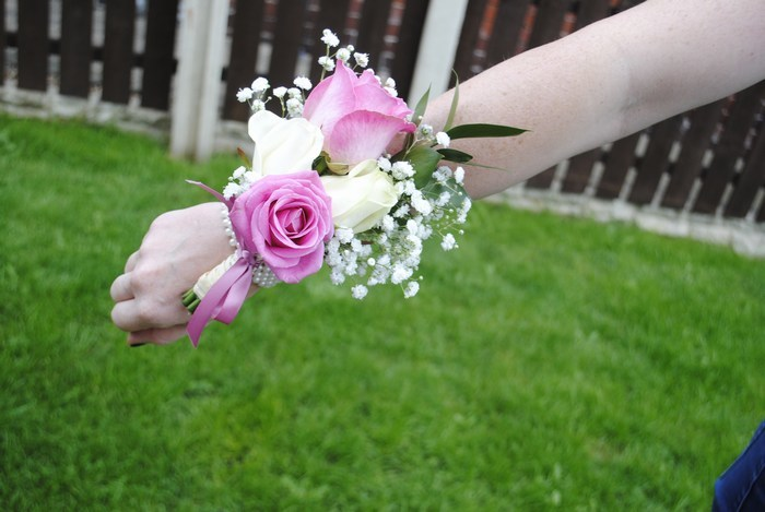 Bridesmaid Corsage of fresh pink & ivory roses and gyp