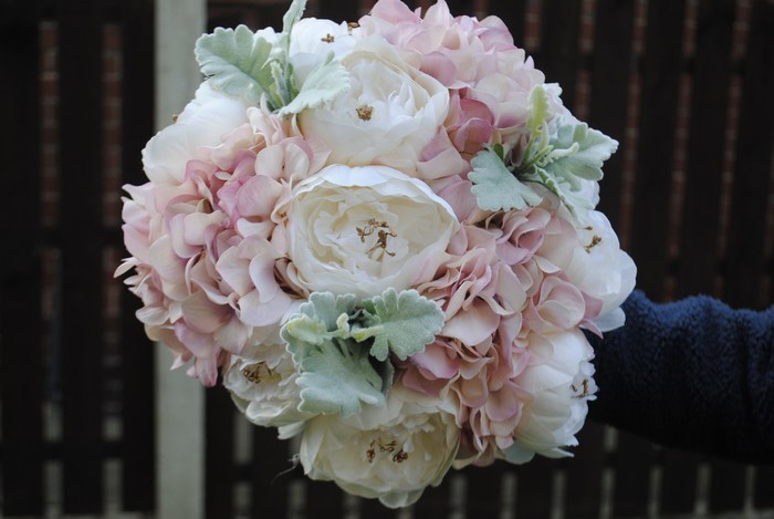 Bridal Bouquet of mixed peonies and hydrangea