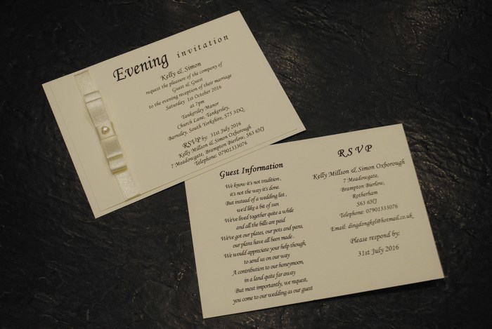 Dior bow double mounted evening invitation in Ivory