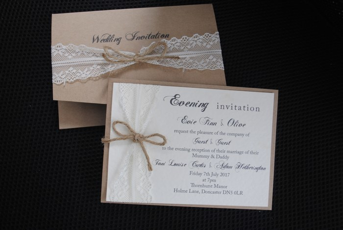 Pocket fold Day invitation and double mounted evening invitation