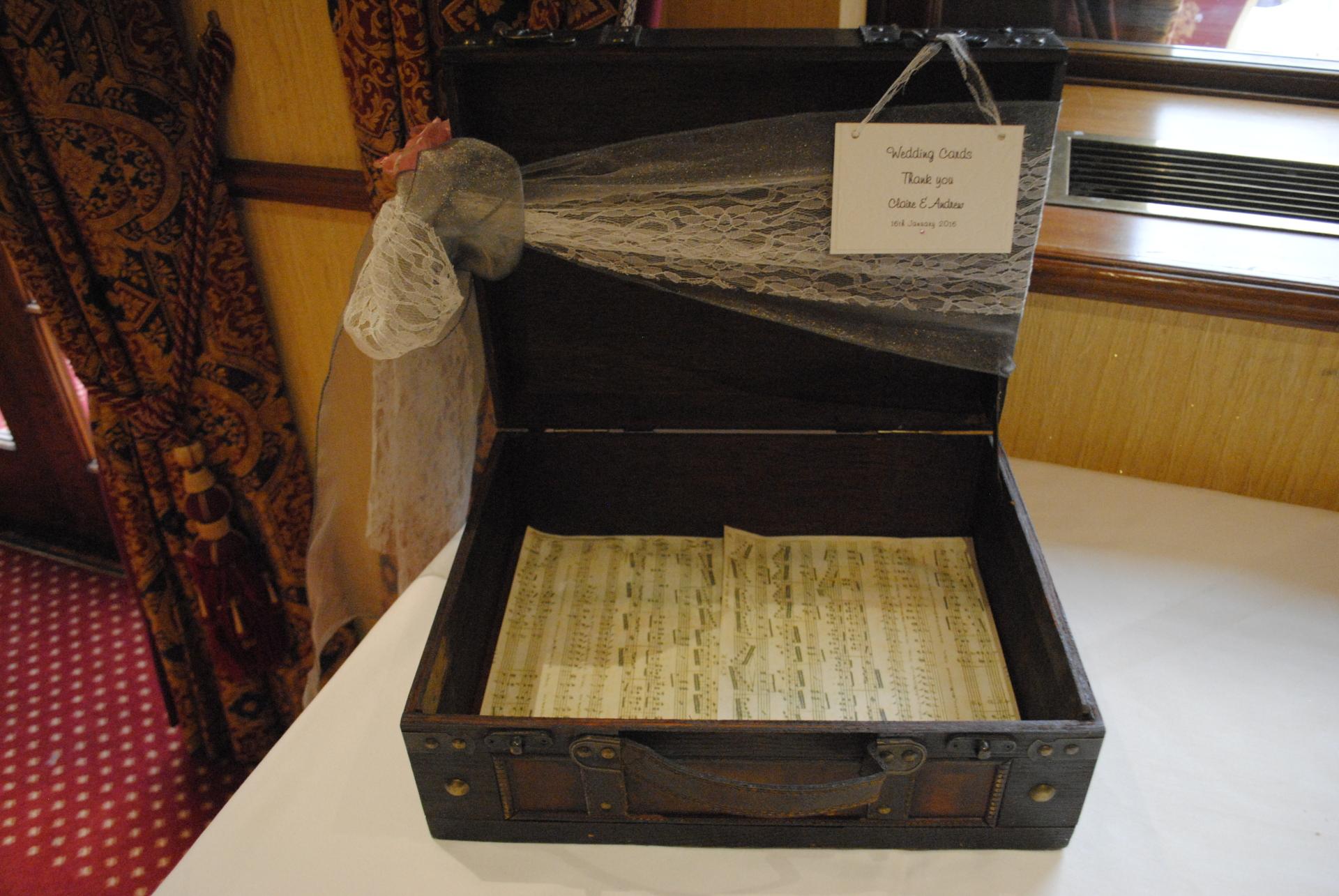 Vintage suitcase wedding card post box
