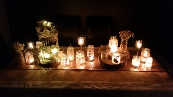 Jam jar multiples with tea lights