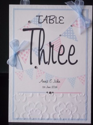 Bunting Table Number