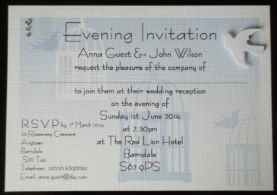 Birdcage Double mounted Postcard Evening Invitation