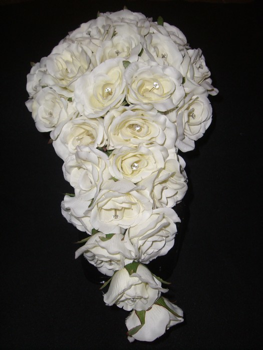 Bridal Bouquet artificial roses in teardrop shape