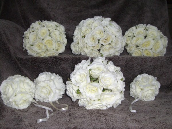Bridal Bouquet artificial roses in cream