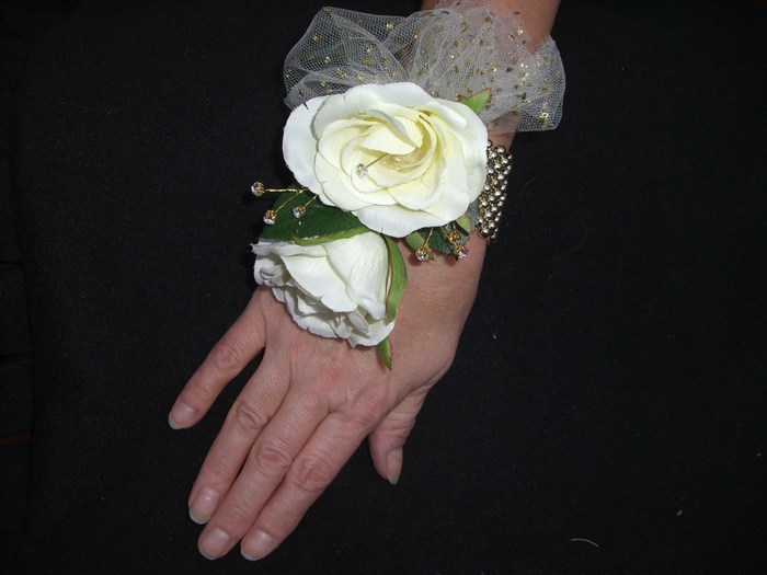 Mother of the Bride/Groom Wrist Corsage in artificial cream roses