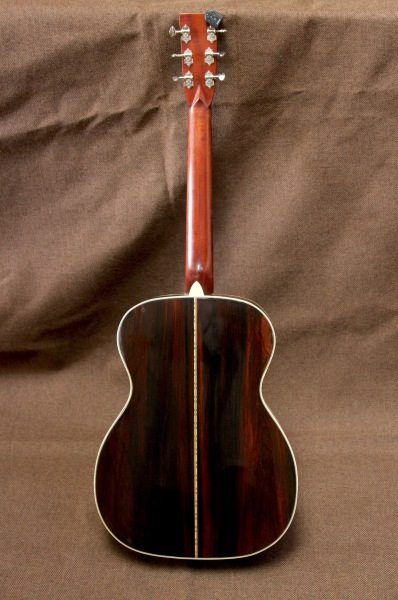 Back of the Brazilian rosewood guitar with sunburst finish