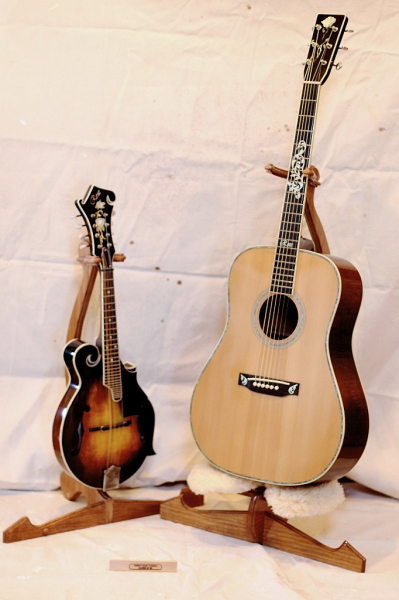 Rose signature Guitar and mandolin on original cherry stands