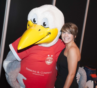 2012 - Rhea Moir, Simmons with Simmon's AFC family mascot, Si the Seagull