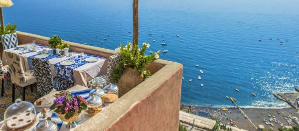 Daily breakfast  overlooking Positano beach