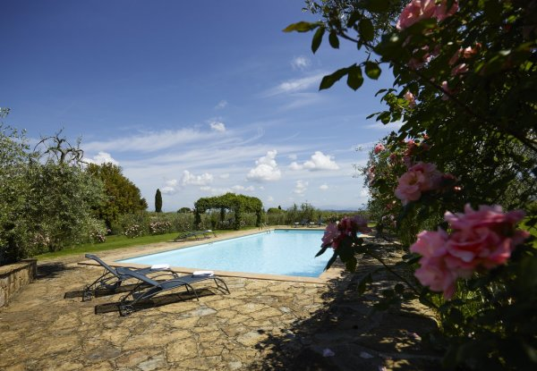 The gardens create a charming backdrop to the pool