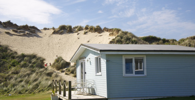 beach chalet next to the sand dunes