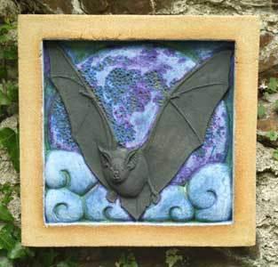 horseshoe bat sculpture, horseshoe bat, bat sculpture, bat bas relief, wildlife art, bat art, Ama Menec sculpture, west country sculpture