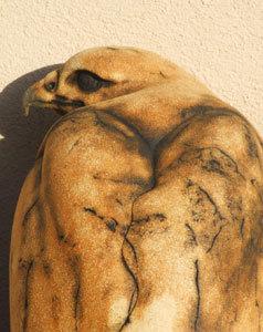 buzzard sculpture, stoneware buzzard,  ceramic buzzard, buzzard by Ama Menec, Female buzzard sculpture.