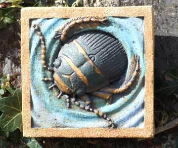 Great Diving beetle, diving beetle sculpture, diving beetle bas relief, great diving beetle by Ama Menec.