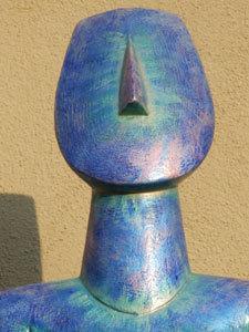 Large blue ceramic cycladic goddess, cycladic goddess by Ama Menec, cycladic idol, large cycladic goddess.