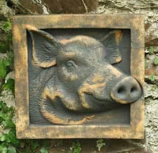 Boris sculpture, wild boar sculpture, Forest of Dean sculpture, wild boar bas relief, boar art, Ama Menec sculpture, crank sculpture, stoneware sculpture.
