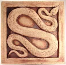 Adder sculpture, adder art, adder bas relief, adder tile, ceramic adder, Ama Menec sculpture