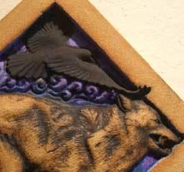 wolf sculpture, raven sculpture, diagonal sculpture, wolf tile, raven tile, wolf ceramic, ceramic raven, Ama Menec sculpture.