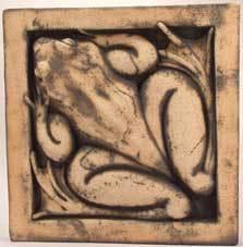 frog sculpture, frog bas relief, wildlife art, frog art, frog tile, Ama Menec sculpture.