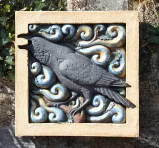 Raven Shouting Into The Wind sculpture, raven sculpture, wildlife art, bas relief sculpture, Ama Menec sculpture