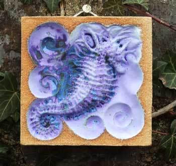 Spiny sea horse, sea horse ceramics, spiny seahorse art, seahorse sculpture, mini beast, Ama Menec sculpture, west country art, west country sculpture.
