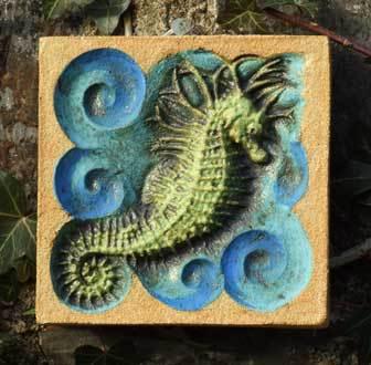 spiny seahorse art, spiny seahorse sculpture, bas relief seahorse, Ama Menec sculpture