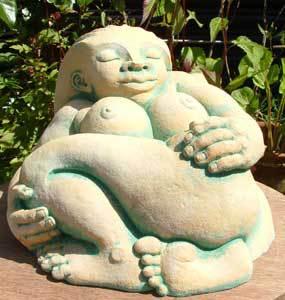 Dreaming sculpture, goddess sculpture, dreaming goddess, garden sculpture, earth goddess, Ama Menec sculpture.