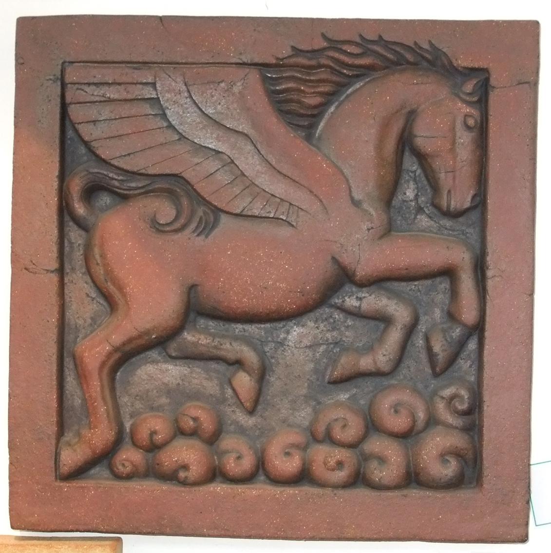 terracotta pegasus, pegasus art, pegasus sculpture, pegasus bas relief, classical art, greek sculpture, pegasus myth, Ama Menec sculpture.