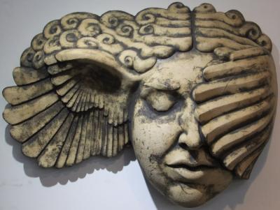 Hypnia, wall hanging classical greek sculpture, greek art, Hypnos, Art Deco, Ama Menec