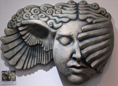 Hypnia, Hypnos, Greek sculpture, classical sculpture, classical art, greek art, wall hanging stoneware sculpture, Ama Menec sculpture.
