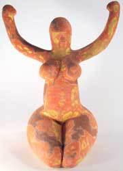 Nile Goddess, Thermal Imaging glaze, neolithic Nile Goddess, Neolithic Egyptian Goddess, Ama Menec sculpture.