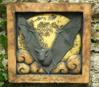 Horseshoe bat, bats, British wildlife, bas relief sculpture, stoneware sculpture, bat art, wildlife art, Ama Menec