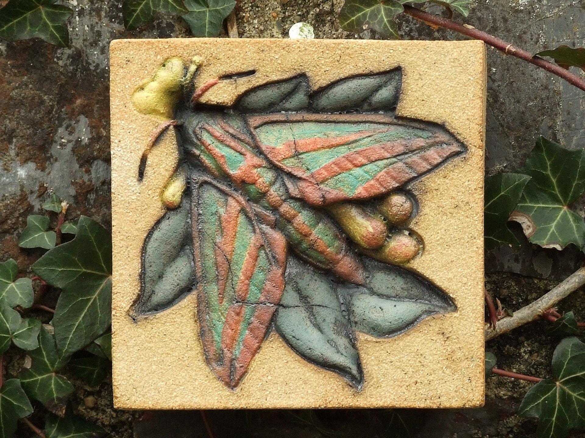 elephant hawk moth, wild honeysuckle, Ama Menec sculpture