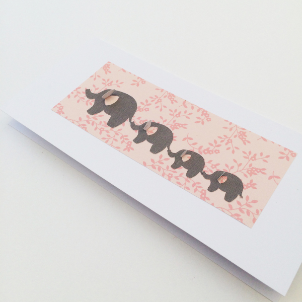 Peach Floral Elephant Card - £3