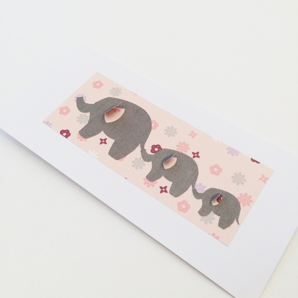 Multi Floral Elephant Card