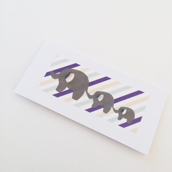 Stripey Elephant Card - £3