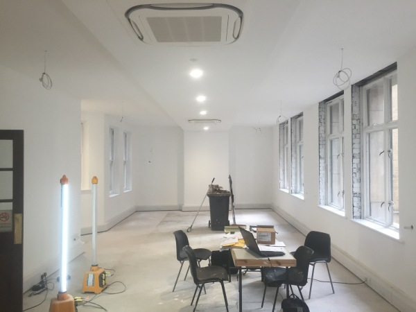Nearly finished - complete re-wire of 3 floors of office in central London, Bury Street.