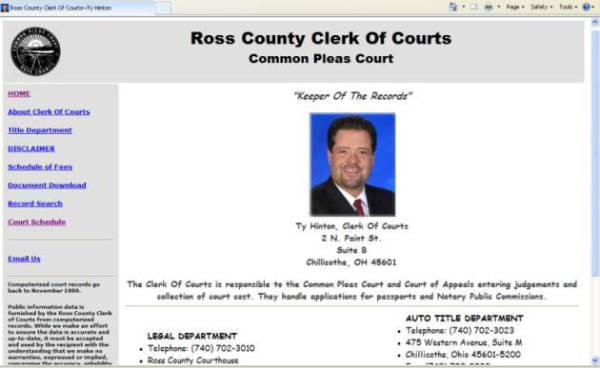 Ross County Clerk, pamelajjames, webdesigner, pamelajjames.com,