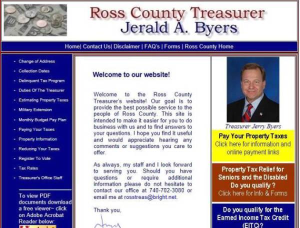 Ross County Treasurer, Jerry Byers, pamelajjames, webdesigner, pamelajjames.com,