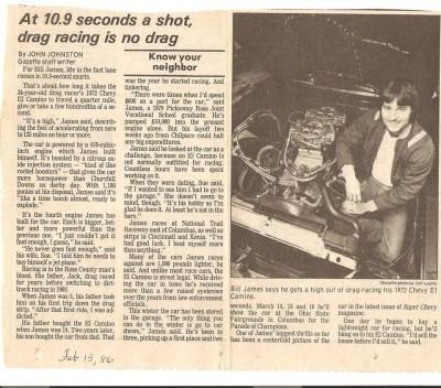 Bill James racing at 10.9 seconds