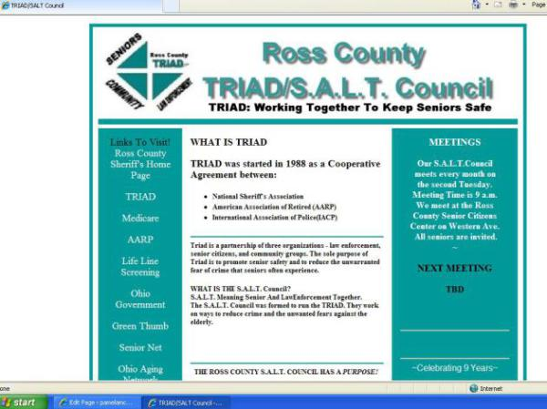 Ross County TRIAD/S.A.L.T. Council, pamelajjames, webdesigner, pamelajjames.com,